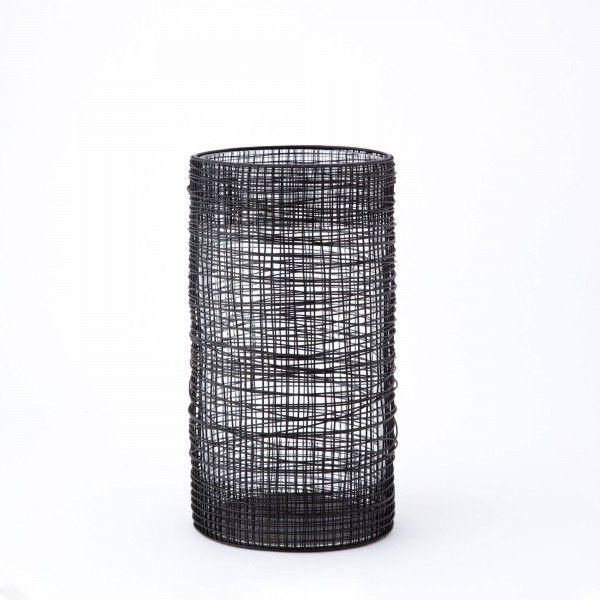 Vaso Vetro con Contenitore in Metallo