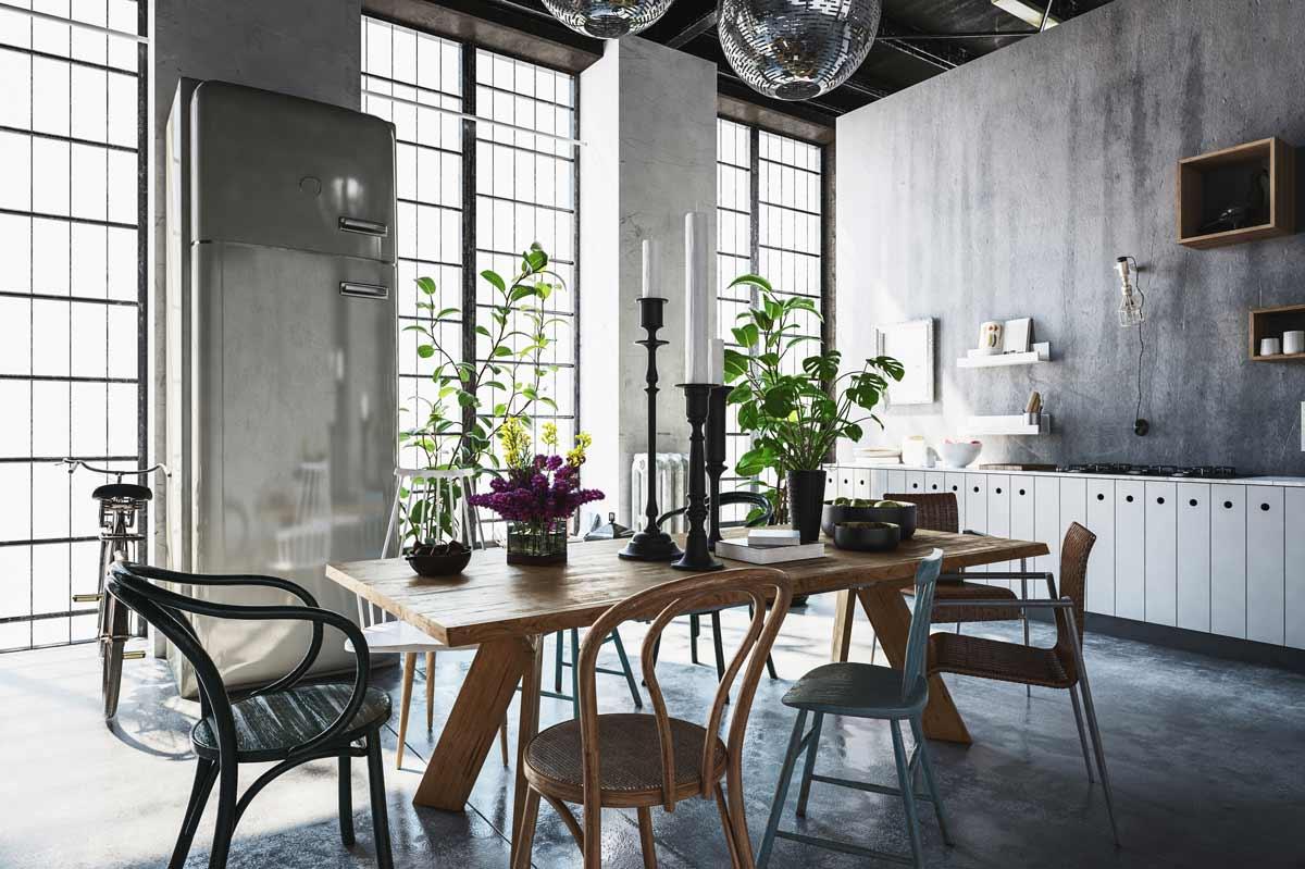 Sala da pranzo stile industrial